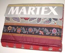 NWT Vintage Burgundy Floral FULL / Double Size Flat Sheet Made in USA by Martex