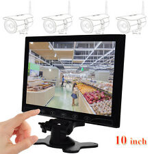 "10"" LCD CCTV Monitor HD Screen Touch Button AV/RCA/VGA/HDMI 1080p Video Speaker"