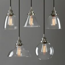 RETRO INDUSTRIAL LAMP SILVER BRUSHED LOFT CEILING PENDANT LIGHT CLEAR GLASS