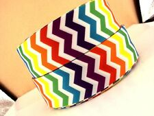 "1.5"" Multicolor Bright Chevron 4 yards Grosgrain Ribbon-Fabric-Hair Bow-Supplies"