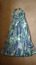Monsoon 100% seta Impreziosito MAXI DRESS SIZE 10