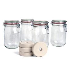 Drahtbügelglas+Beschwerungsstein-4er Set/Sauerkraut, Kimchi, Gemüse fermentieren