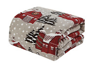 Ultra Soft & Cozy Oversized Christmas Gray Snowy Barn Plush Throw Blanket Cover