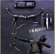 X-TOYS Weapon Model 1/6 Scale Black Bow Arrow Set+Knife Toys Figure Accessories