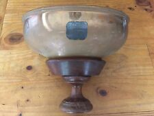 ENGRAVED CHALLIS STYLE COPPER 35x26cm OVAL BUCKET ON TIMBER STAND 28cm TALL