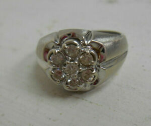 Nice 14K White Gold Mens Ring Size 9 1/2 Wear or Scrap Clear Stones 7.5 Grams