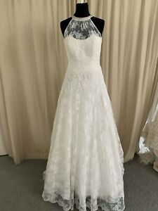 Veromia Wedding Gown   Ivory size 14 - 16.Lace high neck gorgeous back & train