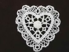 Ivory Heart Venise Lace Sew On Applique Patch Delicate