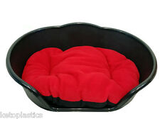 Large Plastic BLACK Dog Pet Bed With RED Dog Cat Basket