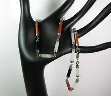 Vintage Sterling Silver Gemstone 925 Jewelry Ladies Carnelian Jade Onyx Necklace