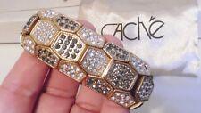 Cache Gold Tone Rhinestone Stretch Bracelet Wide New