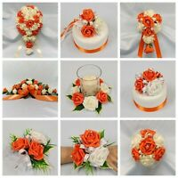 Orange Wedding Flowers Bouquet Posy Brides Bridesmaid Flower girl, Wand, Corsage