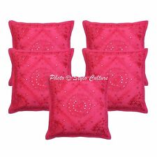 Indian  Mirror Cushion Cover  Embroidered Home Decor Cotton Pillow Cover Throw