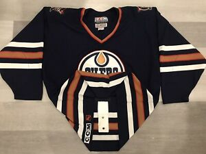 1999 Authentic CCM Edmonton Oilers Navy NHL Hockey Jersey Sz 52