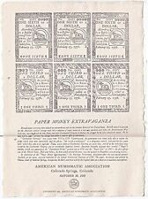 1985 ANA Colonial Currency Reproduction Of 1776 On Actual Hand Made Mica Paper