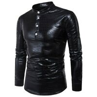 Mens Long sleeve Snakeskin Stand collar T-Shirt Nightclub Western style Tights L