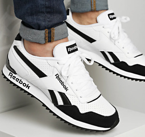 Reebok Royal Glide Ripple Clip Mens Trainers Shoes White/Black G55738 UK 6 to 12