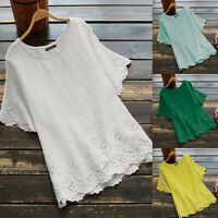 ZNAZEA Womens Short Sleeve Casual Loose Tops Ladies Shirts Blouse Plus Size 8-24