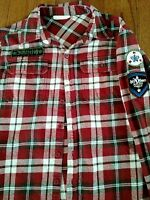 White Tag Brand Shirt Plaid Flannel Size L-XL with Patches