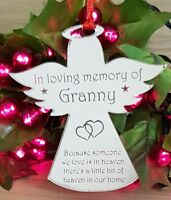 PERSONALISED CHRISTMAS TREE BAUBLE DECORATION ORNAMENT MEMORIAL ANGEL SILVER