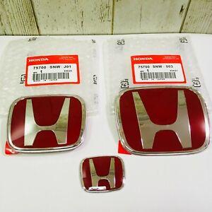 06-15 Civic 4DR Sedan JDM RED H Front Rear Steering Wheel Emblem 09-11 Fit(Jazz)