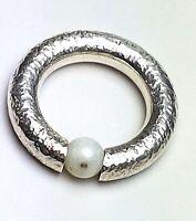 Massiver 925 Silber Bandring mit beweglich. Perle Handarbeit RG 54/17,3 mm/ A499