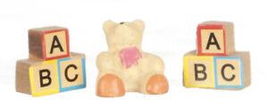 Dolls House Tiny Polyresin Bear & ABC Blocks. Nursery 1.12 Scale Miniature