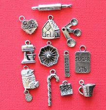 Christmas Baking Charm Collection 12 Silver Tone Charms FREE Shipping E97