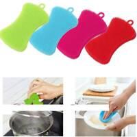 Silicone Dish Washing Brush Pot Pan Sponge Scrubber Kitchen Cleaning Pad Tool