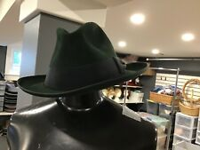 Vintage Fedora Hat  7-3/8 Fur Felt Deep Green Brand New Sweat Band