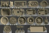 17 PCS STL 3D Models TRAYS MUGS PLATES for CNC Route 3D Printer Engraver Carving