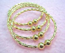4 pc BABY INFANT TODDLER GOLD PATTERN METAL with BALL CLOSURE BANGLE BRACELETS