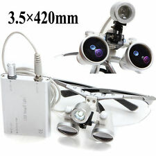 Silver Dental Loupes 3.5X 420mm Surgical Binocular Optical Glass Head Light Lamp