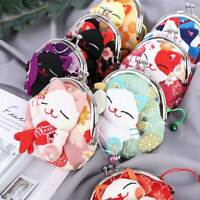 Japanese Style Cute Cartoon Kimono Lucky Cat Coin Bag Purse Fabric Wallet Pouch