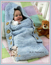 Knitting Pattern - Babies Sleeping Bag/Sack or Cocoon - With or Without Hood