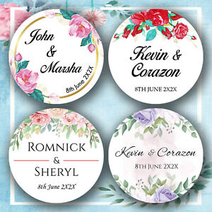 Personalised Wedding Stickers Floral Labels Mehndi Thanks Favours Custom Printed