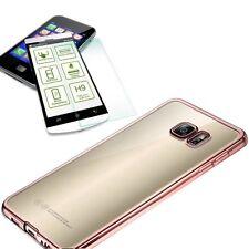 Metal Silikoncase Pink + 0,3 mm H9 Panzerglas für Samsung Galaxy S7 G930F Tasche