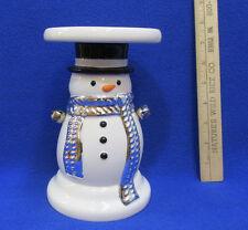 Snowman Candle Holder Pillar Pedestal Christmas Winter Bath & Body White Ceramic