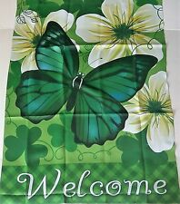 """ST.PATRICK'S DAY Yard  Flag 28"""" X 40"""" WELCOME  GREEN BUTTERFLY"""