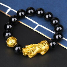 New Pure 24K Yellow Gold 3D Pixiu Bead with 10mm Black Agate Bead Bracelet