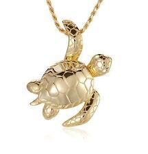baádo en oro amarillo PLATA 925 Brillante 3d HAWÁI Sea Turtle Deslizador