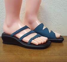 Women's Clarks Teal Blue Microsuede Leather Slide Heel Sandals - Size 7M