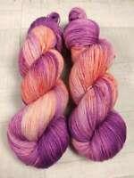 Handgefärbte Sockenwolle 4 fach 100 g - LACHS KIRSCHEN  2722