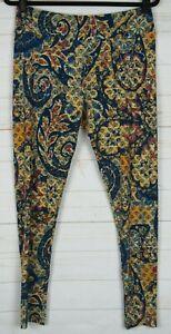 LuLaRoe Women's Leggings Blue & Yellow Size TC New