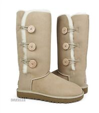 UGG Bailey Button Triplet II Sand Suede Fur Boots Womens Size 9 *NIB*