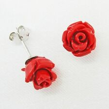 8mm Red Coral Rose Post Earrings in SOLID 925 Sterling Silver - USA Seller!