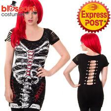 RKN38 Banned Skeleton Corset Top Black Gothic Halloween Punk Rock Emo Skull Goth