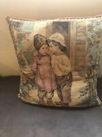 "Vintage Tapestry Throw Pillow Boy And Girl 18"" Pink Tans Square"