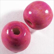 Lot de 20 Perles Rondes en Bois 16mm Rose Fuchsia
