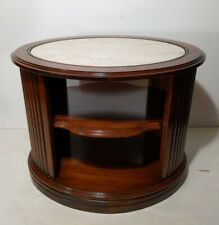 Mersman Faux Marble End Table 3-Tier Wood Round/Oval Neoclassical Style